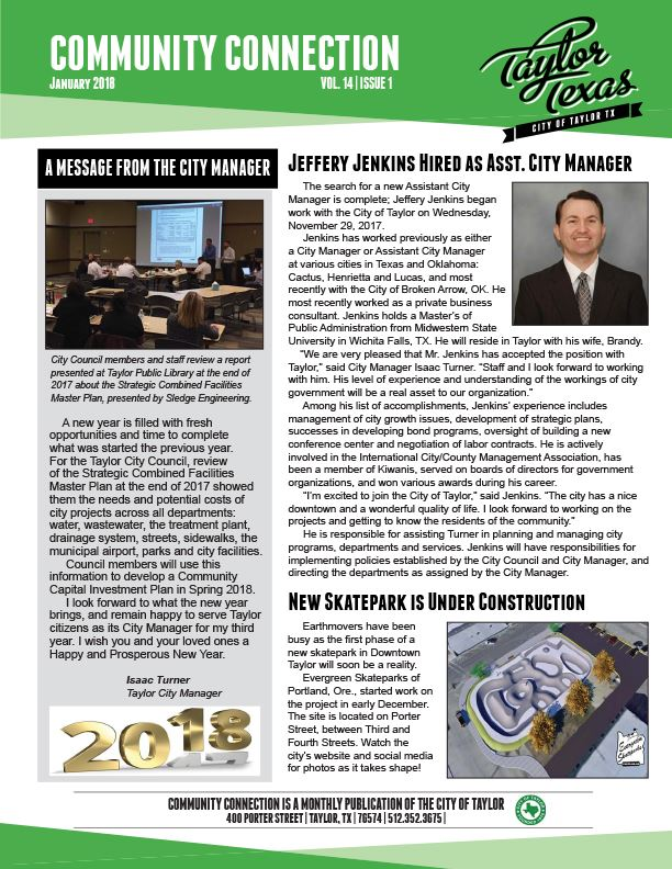 January 2018-Page1- Newsletter