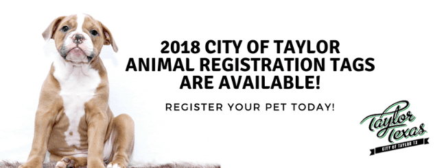 2018 City of Taylor Animal Registration Tags