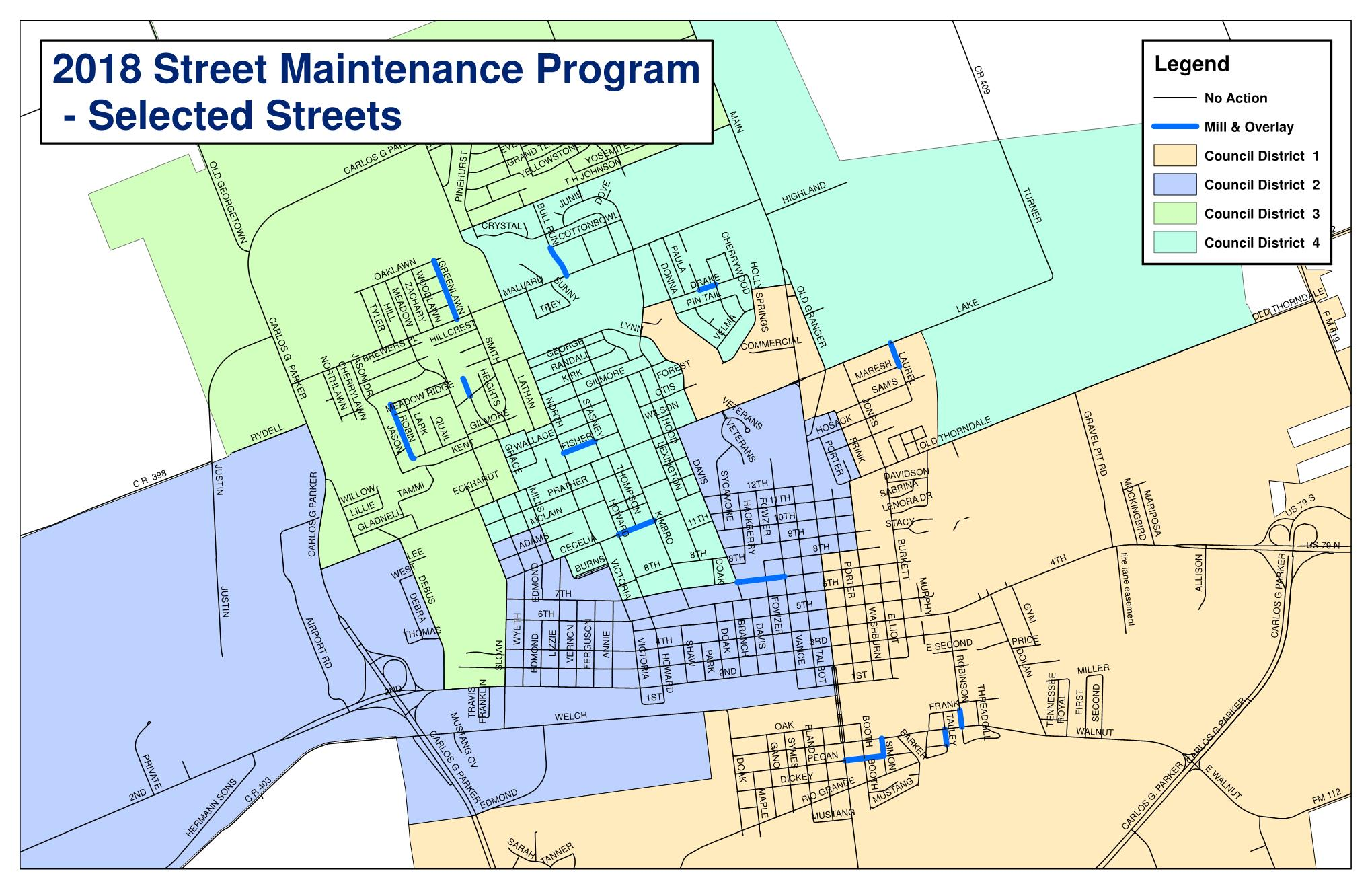 2018 Street Maintenance Program - Selected Streets